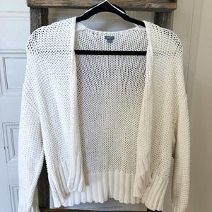 AERIE White Cotton Knit Open Cardigan